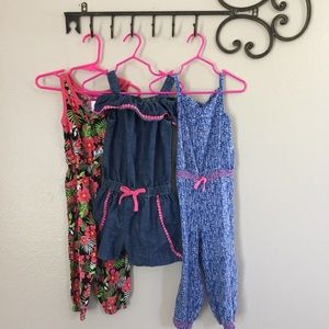 Other - Girls Lot of 3 summer floral Rompers 3/4T